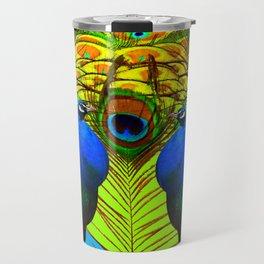 BLUE-GREEN PEACOCKS & LIME FEATHERS ART Travel Mug