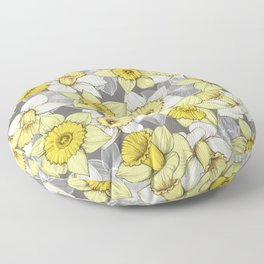 Daffodil Daze - yellow & grey daffodil illustration pattern Floor Pillow