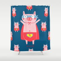 super hero Shower Curtains featuring I need a super hero! by Sucoco