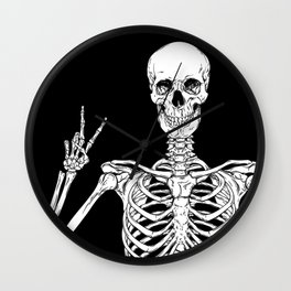 Human skeleton posing isolated over black background vector illustration Wall Clock