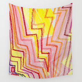 Lightning Pulse in Pink Yellow and Orange Wall Tapestry
