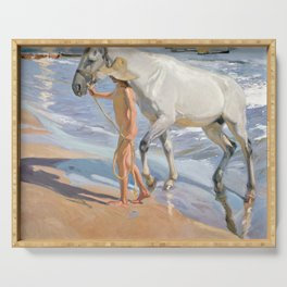 The Horse's Bath by Joaquin Sorolla Serving Tray