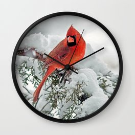 Cardinal on Snowy Branch (sq) Wall Clock