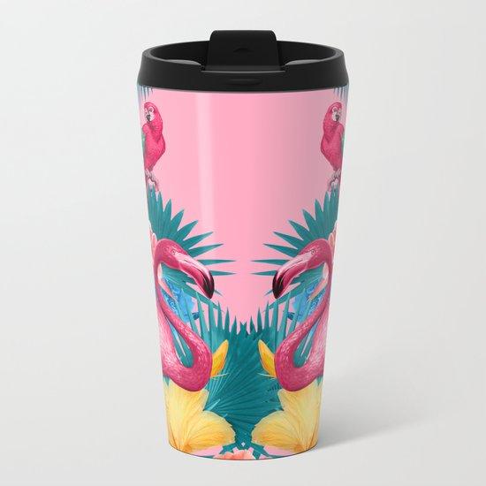 Flamingo and Tropical garden Metal Travel Mug
