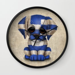 Cute Puppy Dog with flag of Greece Wall Clock