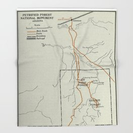 Vintage Petrified Forest National Park Map (1919) Throw Blanket