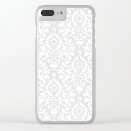 Vintage chic gray white abstract floral damask pattern Clear iPhone Case