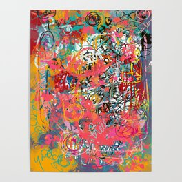 Urban Graffiti Abstract Sprayed Wall Art  Poster