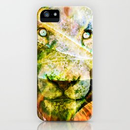 Lion in the brush iPhone Case