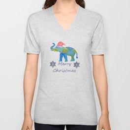 Santa Elephant Unisex V-Neck