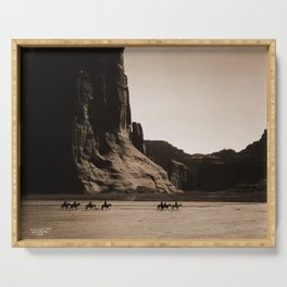 Canyon de Chelly - Chinle, Arizona – Navajo Indians on Horseback by Edward Curtis Serving Tray