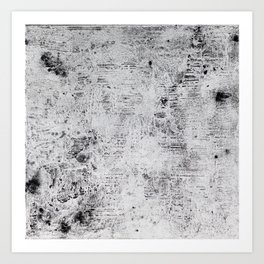#9 BLACK WHITE TEXTURE ABSTRACT PAINTING Art Print