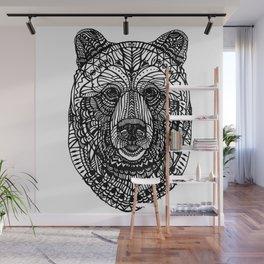 Black lace bear Wall Mural