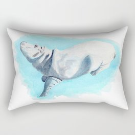 Baby Hippo On Toe Underwater Fantasia Ballet Rectangular Pillow