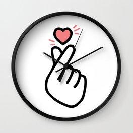 finger heart Wall Clock