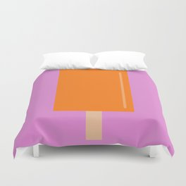 Orange Popsicle with pink background Duvet Cover