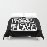 radiohead Duvet Covers featuring Everything in Its Right Place - Radiohead by Bastien13