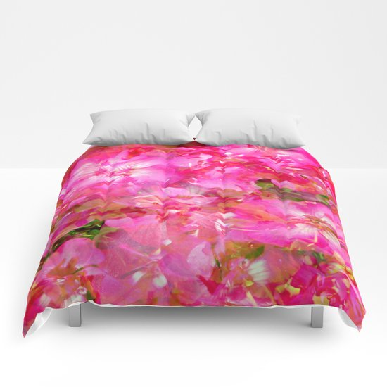 Bright And Cheery Geranium Abstract Comforters