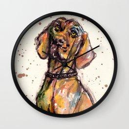 Hungarian Vizsla Dog Closeup Wall Clock