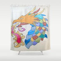 metallic Shower Curtains featuring Metallic Dragon by J&C Creations