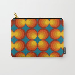 70s Circle Design - Teal Background Carry-All Pouch