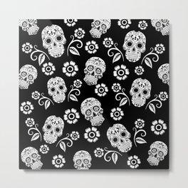 Black and White Sugar Skulls Metal Print