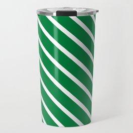 Emerald Diagonal Stripes Travel Mug