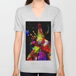 Tour Eiffel Watercolor Grunge Unisex V-Neck