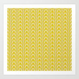 Snow Drops on Mustard Yellow Art Print