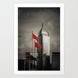 Red flags Tower Art Print