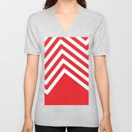 Red White Geometric #red #white #artdeco #fresh #summer #minimal #art #design #kirovair #geometric # Unisex V-Neck
