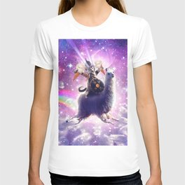 Lazer Warrior Space Cat Riding Llama Eating Ice Cream T-shirt