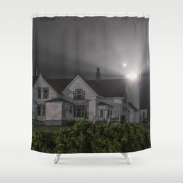Eastern point lighthouse on a foggy night Shower Curtain