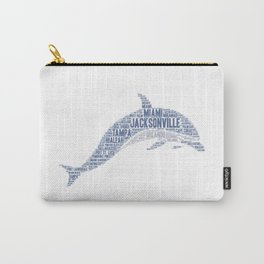 Dolphin illustrated with cities of Florida State USA Carry-All Pouch