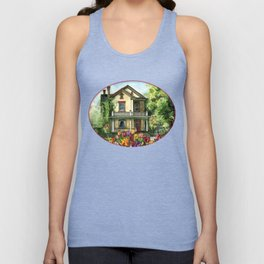 Farmhouse with Spring Tulips Unisex Tank Top