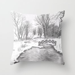 Snowy Landscape Throw Pillow