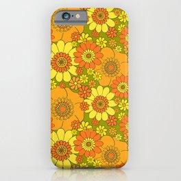 Pushing daisies orange with green base iPhone Case