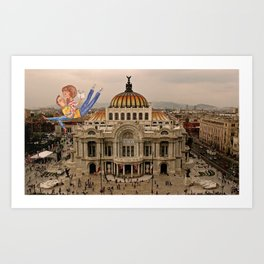 Lovers over Palacio de Bellas Artes Art Print