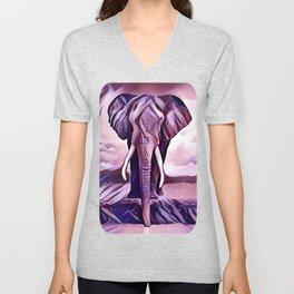 Elephant Drinking Water Unisex V-Neck