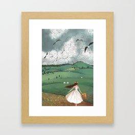 Girl And Fly Birds Framed Art Print