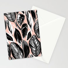 Calathea black & grey leaves with pale background Stationery Cards