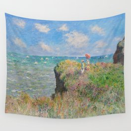 """Claude Monet """" Cliff Walk at Pourville"""" Wall Tapestry"""