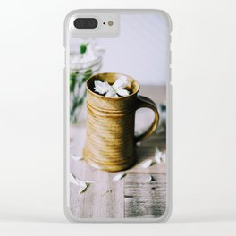 Coffee Cup & White Flowers Clear iPhone Case