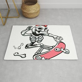 Skull girl ride a skateboard Rug