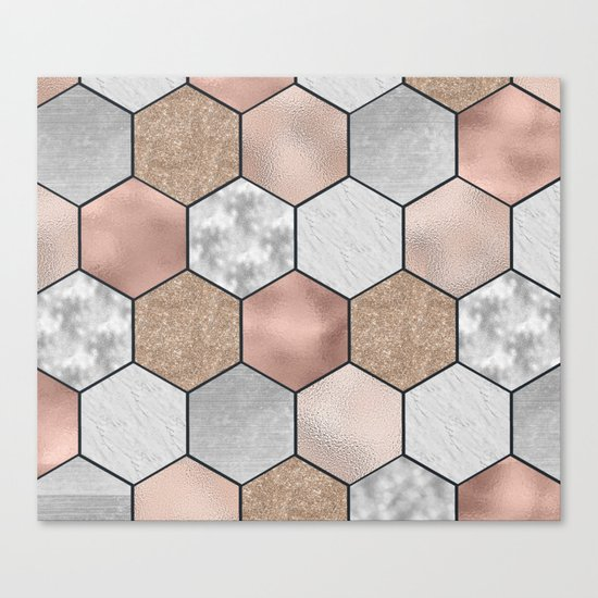 Marble hexagons and rose gold on black Canvas Print
