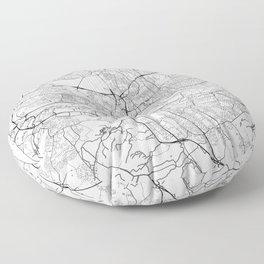 Newcastle Upon Tyne Map White Floor Pillow