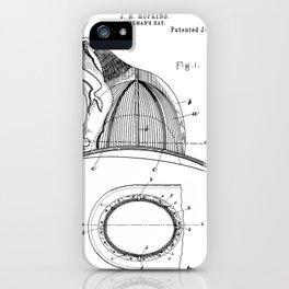 Firemans Helmet Patent - Fireman Art - Black And White iPhone Case
