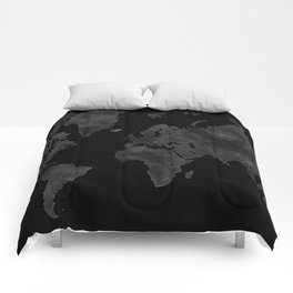 "Black and gray watercolor world map ""Coal mine"" Comforters"
