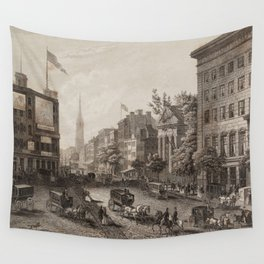 Vintage Broadway NYC Illustration (1840) Wall Tapestry