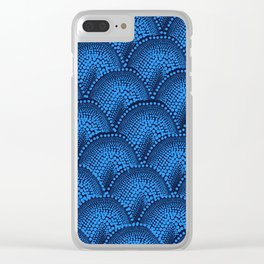 Many Blue Dots (Black Background) Clear iPhone Case